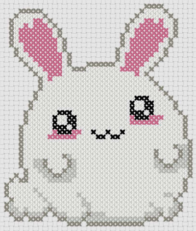 Preview of Cartoon cross stitch patterns: Fluffy Bunny
