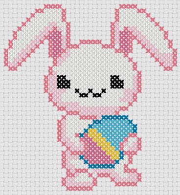 Preview of Free printable Easter cross stitch patterns: Easter Bunny Kawaii