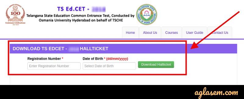 TS EdCET 2020 Hall Ticket Login