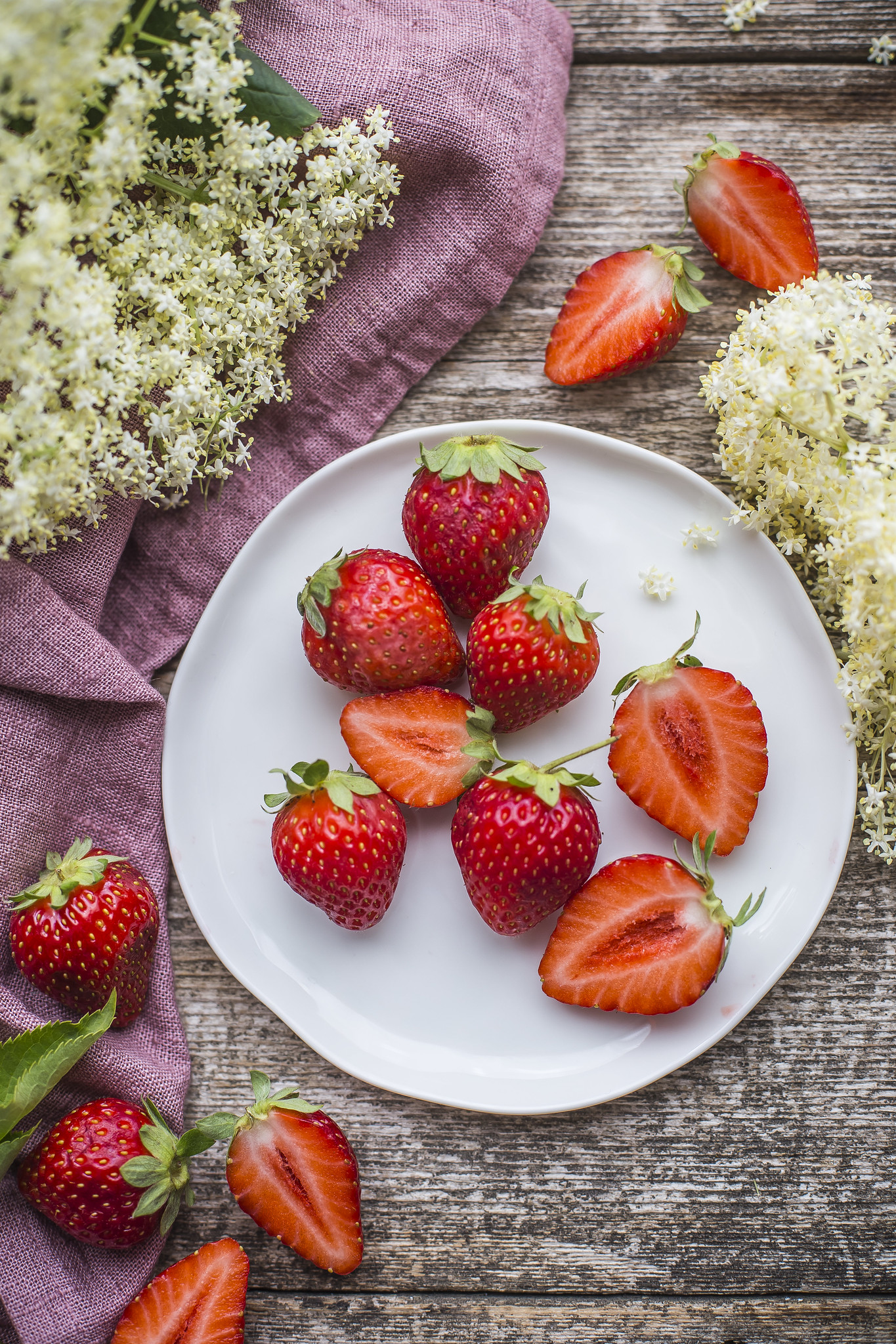 Fragole e fiori di sambuco
