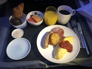 In flight business class breakfast on Cathay Pacific flight CX256 from London Heathrow to Hong Kong