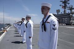 Sailors man the rails as USS Ronald Reagan (CVN 76) departs Fleet Activities Yokosuka, Japan, May 22. (U.S. Navy/MC2 Tyra M. Campbell)