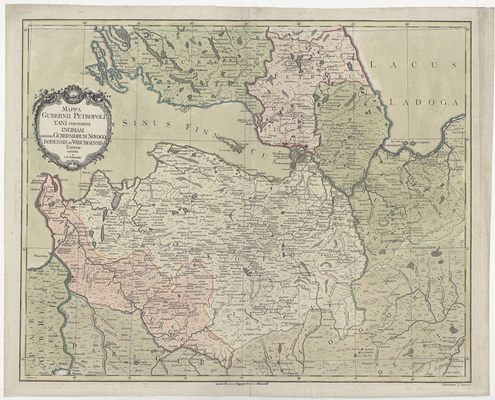 1770. Карта Санкт-Петербургской губернии Якоба Шмидта