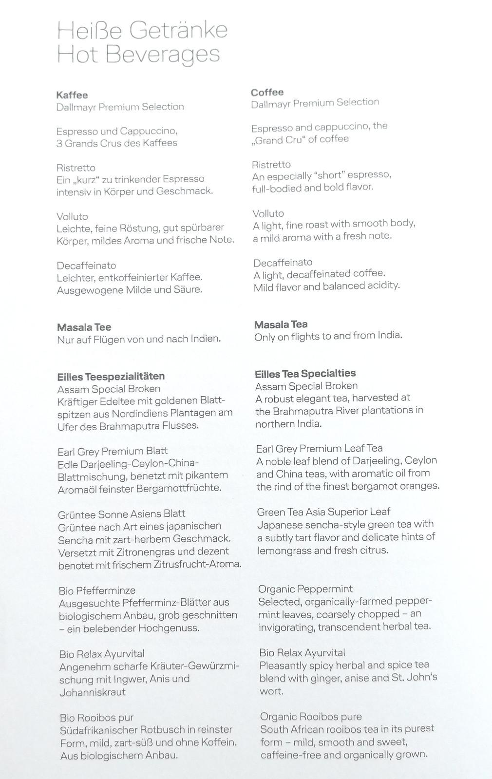 Hot beverage list