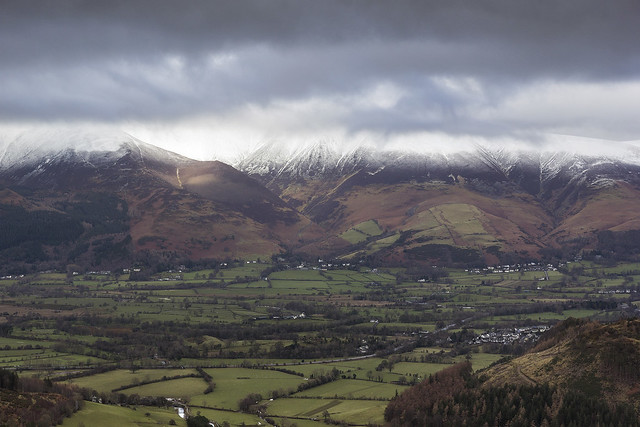 Snowy Skiddaw massif, Lake District National Park, Cumbria, UK