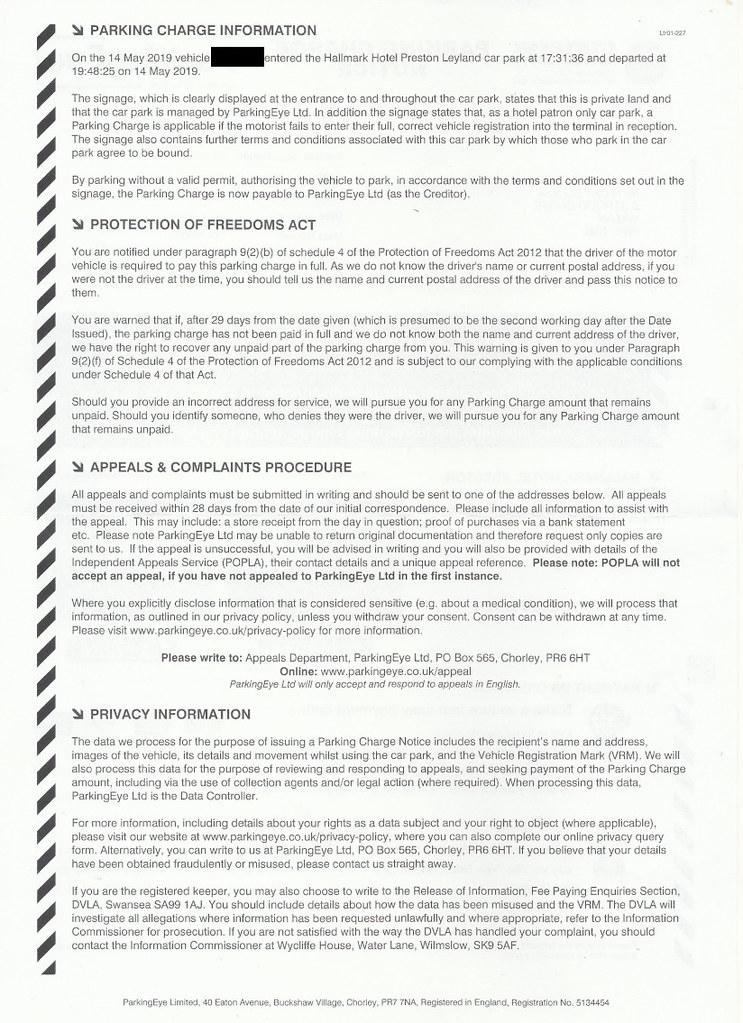 FightBack Forums > ParkingEye Parking Charge Notice - Hallmark Hotel