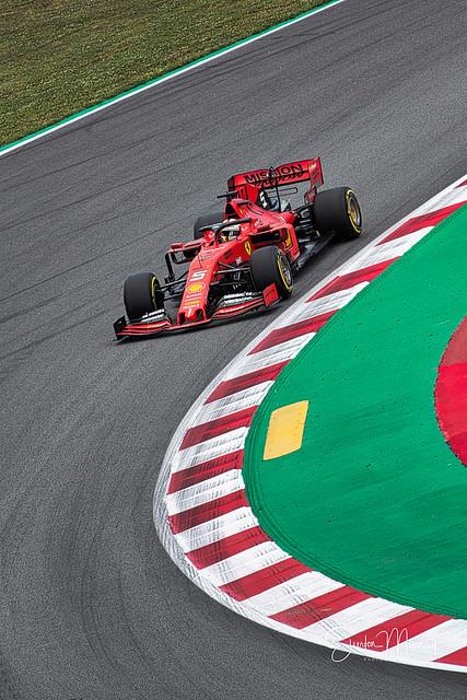 sebastian vettel racing at spanish F1