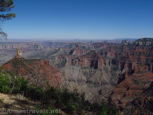 Views of Point Imperial and the Grand Canyon along the Ken Patrick Trail on the north rim of Grand Canyon National Park, Arizona