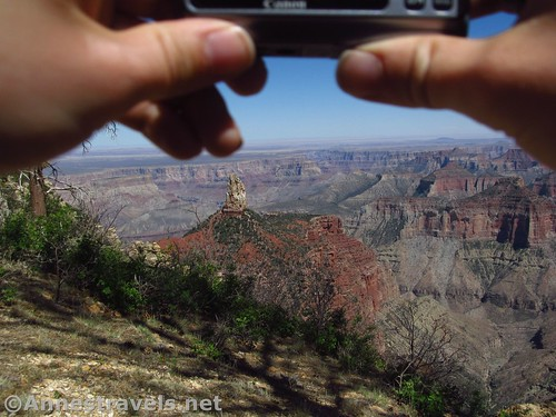 One of my group members taking photos along the Ken Patrick Trail in Grand Canyon National Park, Arizona