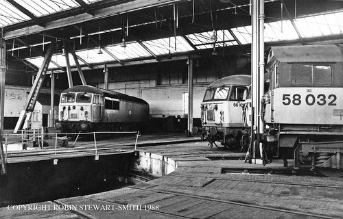 BR Class 56 Nos 56008 56108 56054 & Class 58 No 58032 inside the Roundhouse at Barrow Hill TMD on 26th February 1988