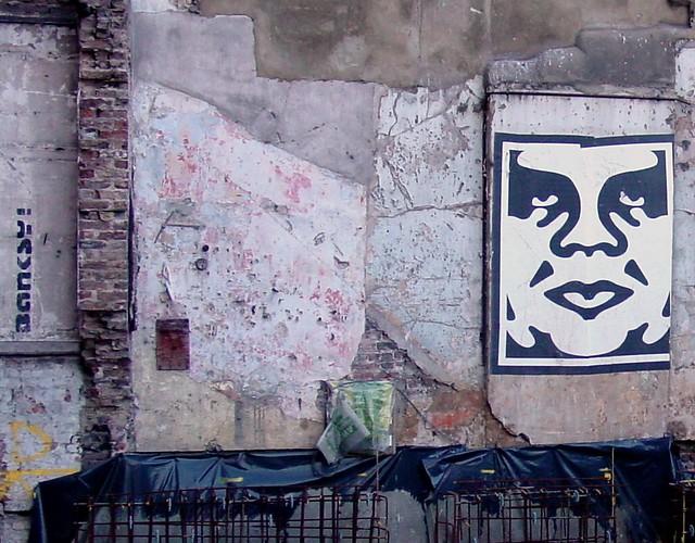 Banksy tag, Shepard Fairey, 2006
