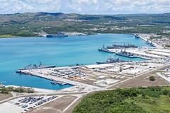 U.S. Navy, Royal Australian Navy, Japan Maritime Self-Defense Force and Republic of Korea Navy ships sit moored in Apra Harbor, Guam, at the beginning of exercise Pacific Vanguard. (U.S. Navy/MC2 Jasen Moreno-Garcia)