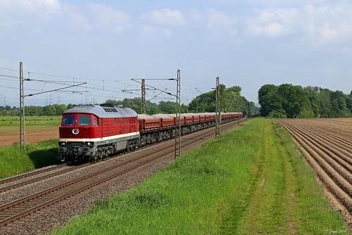 WFL 231 012 mit dem Schotterzug aus Koblenz-Lützel nach Oberhausen bei Bornheim auf der linken Rheinstrecke, 22.05.2019
