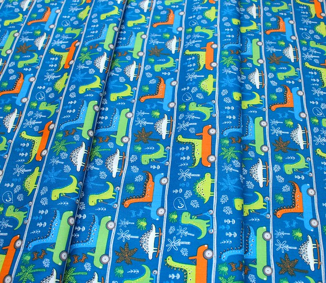 Camelot Fabrics Roarsome 21180403-02 Dinosaurs on the Go in Dark Blue
