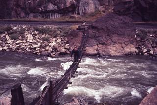 1970  Foot bridge at bottom of Royal Gorge Colorado.