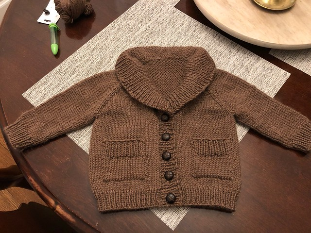 Jessica's sweet Gramps Cardigan by Tin Can Knits that she knit for the First Cardigan Class