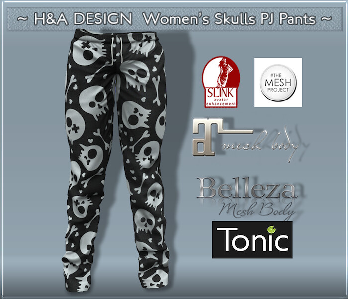 [H&A Designs]-Women's Skulls PJ Pants
