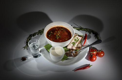 Russian borscht and vodka - Русский борщ и водка