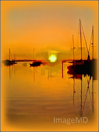 sunrise dinnerkey miami florida orange sailboat coconutgrove topaz reflection
