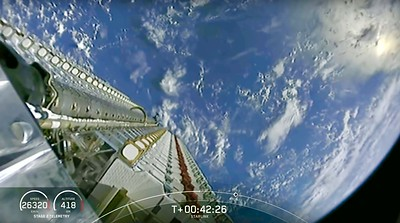 SpaceX Starlink Broadband Satellite Deployment over Earth