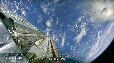 SpaceX Starlink Broadband Satellite Deployment over Earth