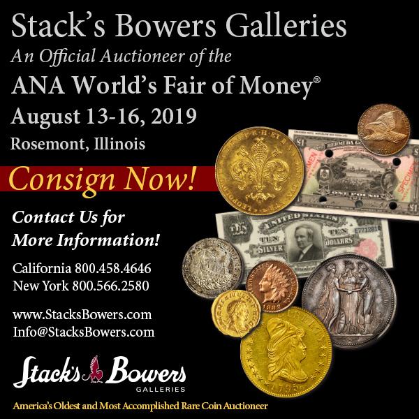 Stacks-Bowers E-Sylum ad 2019-06-26 Consign
