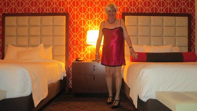 In red nightie in my hotel room
