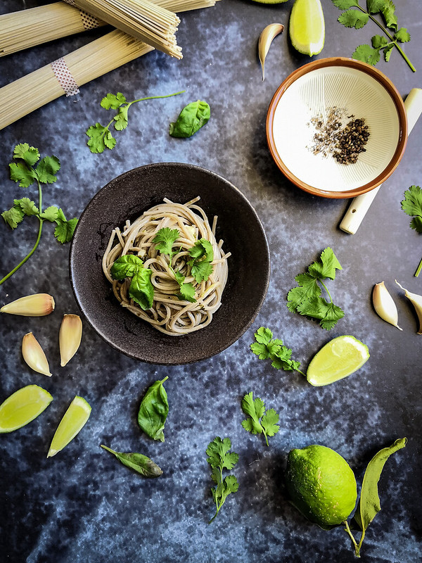 Soba noodles with Basil, Coriander, Cardamon, garlic and lime dressing