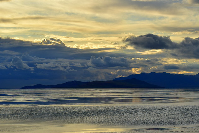 Layers of light and shadow over Fremont Island and Promontory Peninsula