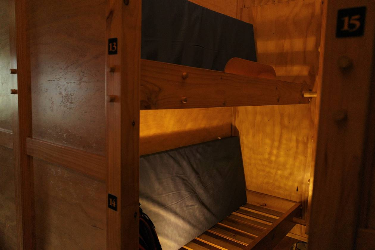 ルートバーン・フォールズロッジの寝床スペースとマットレス