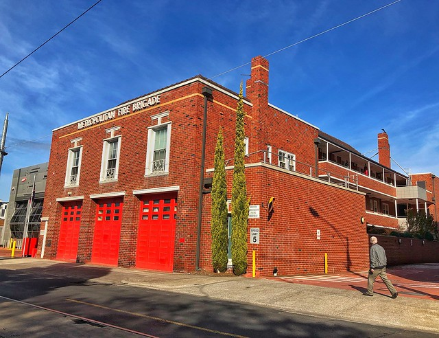 Red Doors and Blue Skies with small lines between