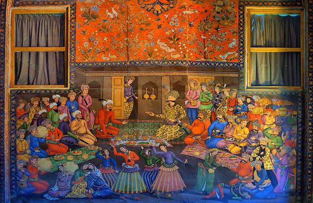 A Mural, Wall Painting, in Chehel Sotoun Palace, Isfahan, Persia (Iran)