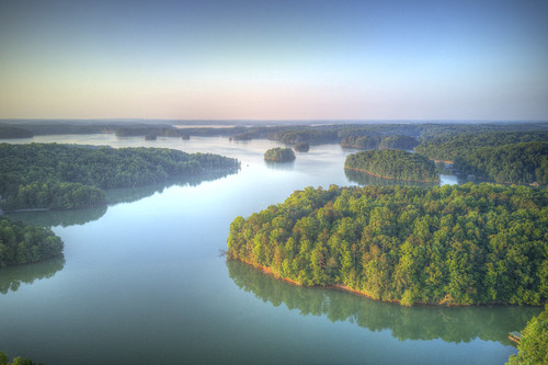 ronmayhew dji mavicpro aerial lakelanier northgeorgia usa water lake tree sky sunrise forsythcounty