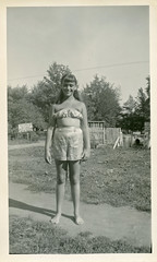 Girl in Shorts and Tube Top Poses, c. 1950