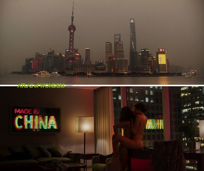 The hotel room and the Shanghai  skyline