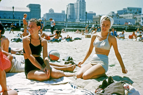 Slide of Two Women on Beach, 1940s