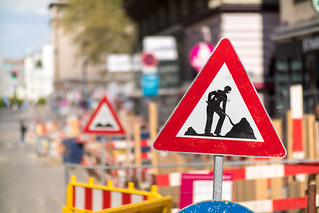 traffic sign indicating a road block due to roadworks ahead