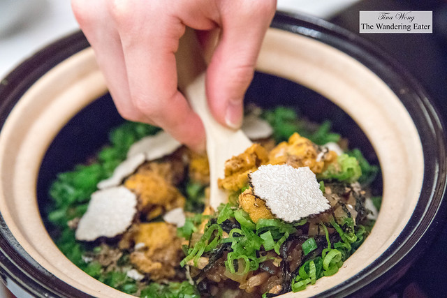 Claypot rice with fresh uni, summer black truffles and assorted vegetables