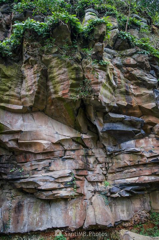Pared de basalto en el camino a los riscos de Fontfreda