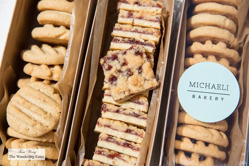 Tahini cookies and raspberry jam cookie bars
