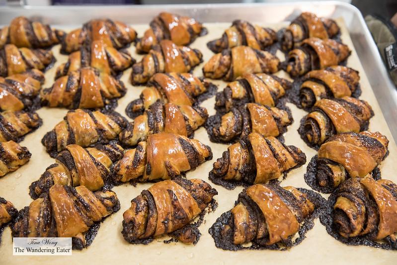 Fresh baked chocolate rugelach