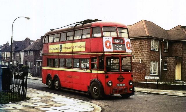 c1961 – London Transport Trolleybus 1630.  Fitzalan Road, London, N3.