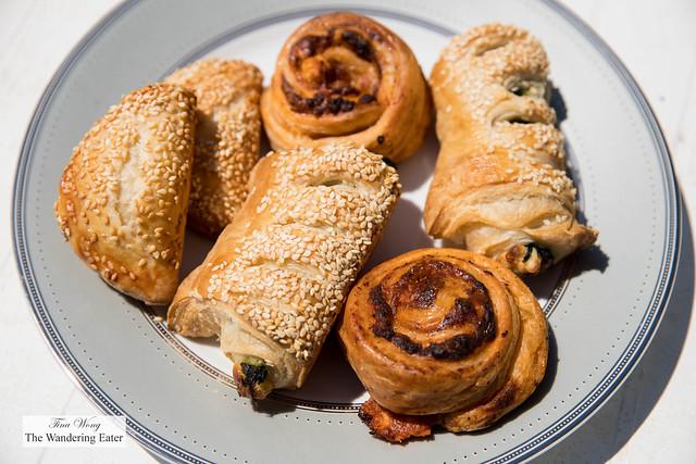 Savory burekas - potato and sour cream, feta and spinach, and pizza