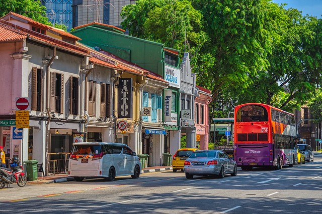 Traditional shop houses on Northbridge Road near Sultan Mosque in Singapore