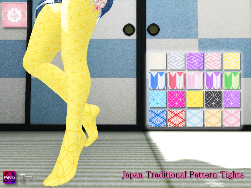 !cream spaghetti hair! Japan Traditional Pattern Tights AD