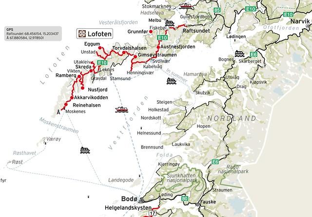 Mapa de carretera que muestra la Ruta del Rey Olav V en Islas Lofoten (Laponia Noruega)