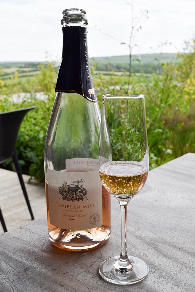 English Sparkling Rose Wine at Trevibban Mill Vineyard, Cornwall