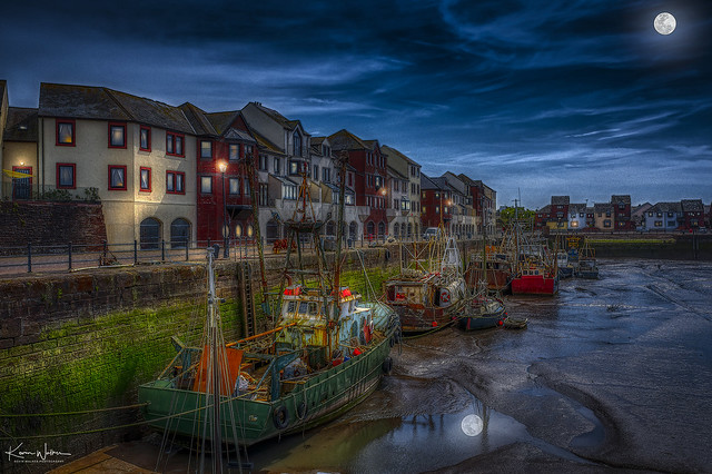 Maryport Harbour at Moonlight