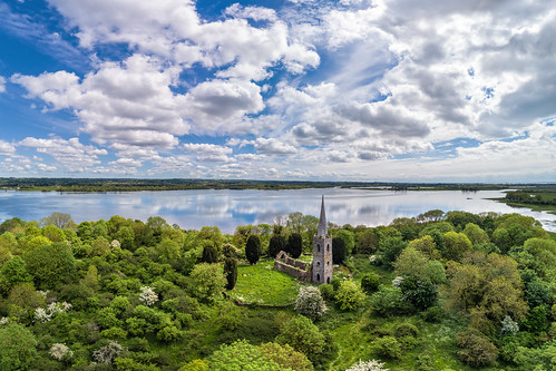 ireland natural rural gareth northern wray ruins abandoned photography tory beach landscape landmark tourist island green grass forest woodland tourism visit sight irish county derry londonderry magherafelt church bishop spire tower st patrick cloudscape clouds reflections toome bridge lough beg dji phantom 4 four pro p4p drone quadcopter sea view traditional coast sun town shore aerial bann uav day estuary river