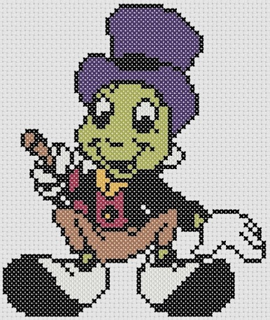 Preview of Disney cross stitch patterns PDF: Pinocchio's Jiminy Cricket